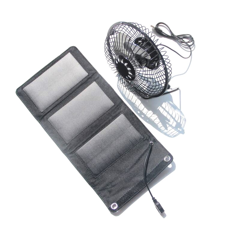 5W 5.5V Monocrystalline Folding Solar Panel+6 Inch Mini Fan