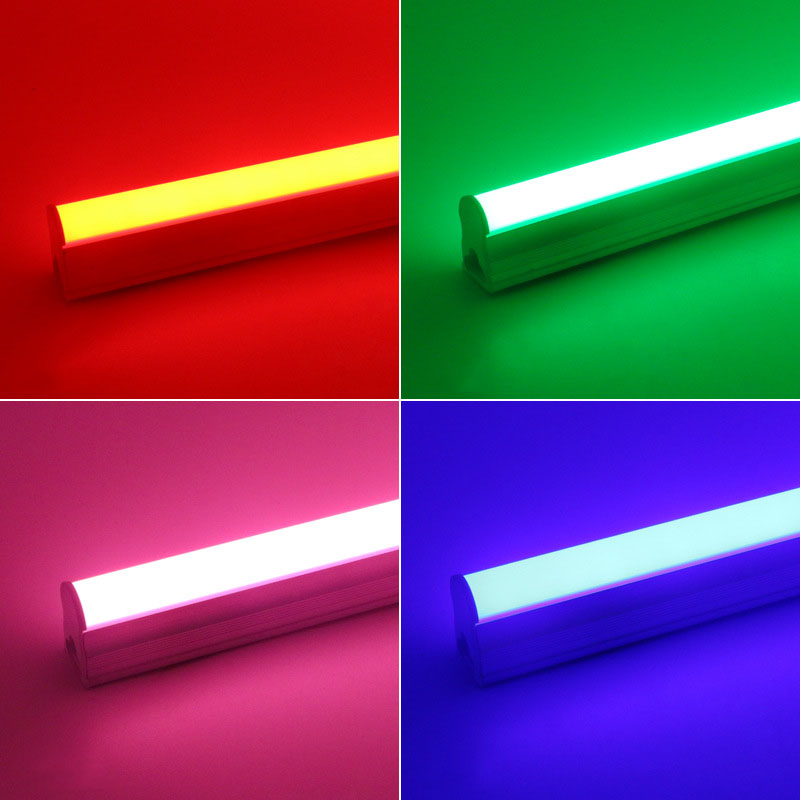 T5 Integrated LED Tube Light 0.3m/0.6m/0.9m/1m/1.2m/1.5m AC 85V-265V Emitting Red/Green/Blue/Pink
