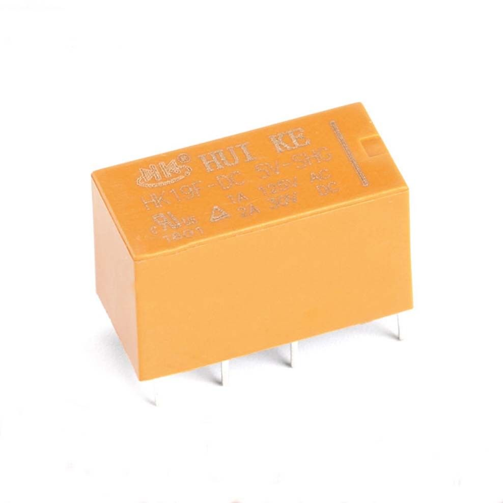 8 Pin Mini Power Relay HK19F-DC3V 5V 9V 12V 24V-SHG 2A Yellow