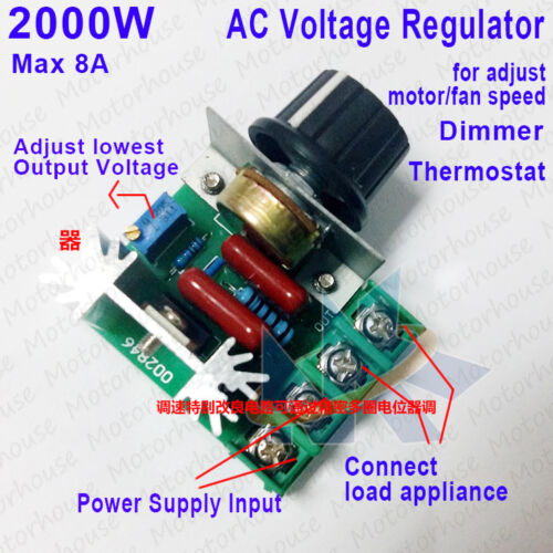 2000W Speed Controller SCR Voltage Regulator Dimming Dimmer Thermostat