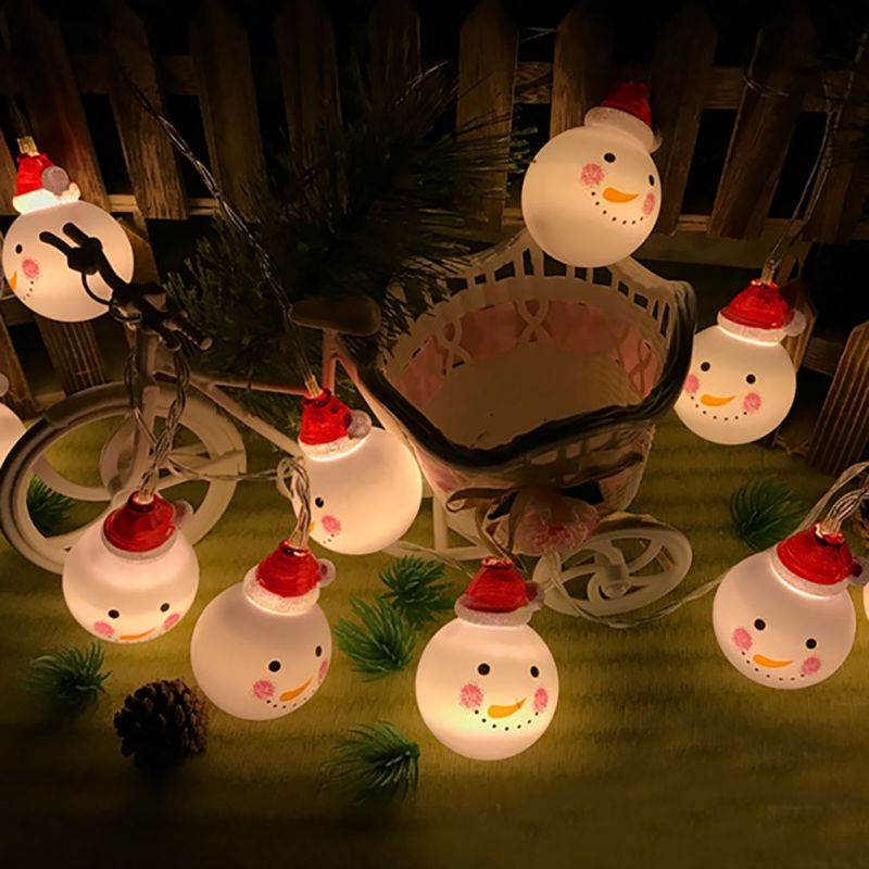 Battery Powered LED Christmas Snowman Light String 1.5M/3M/4.5M