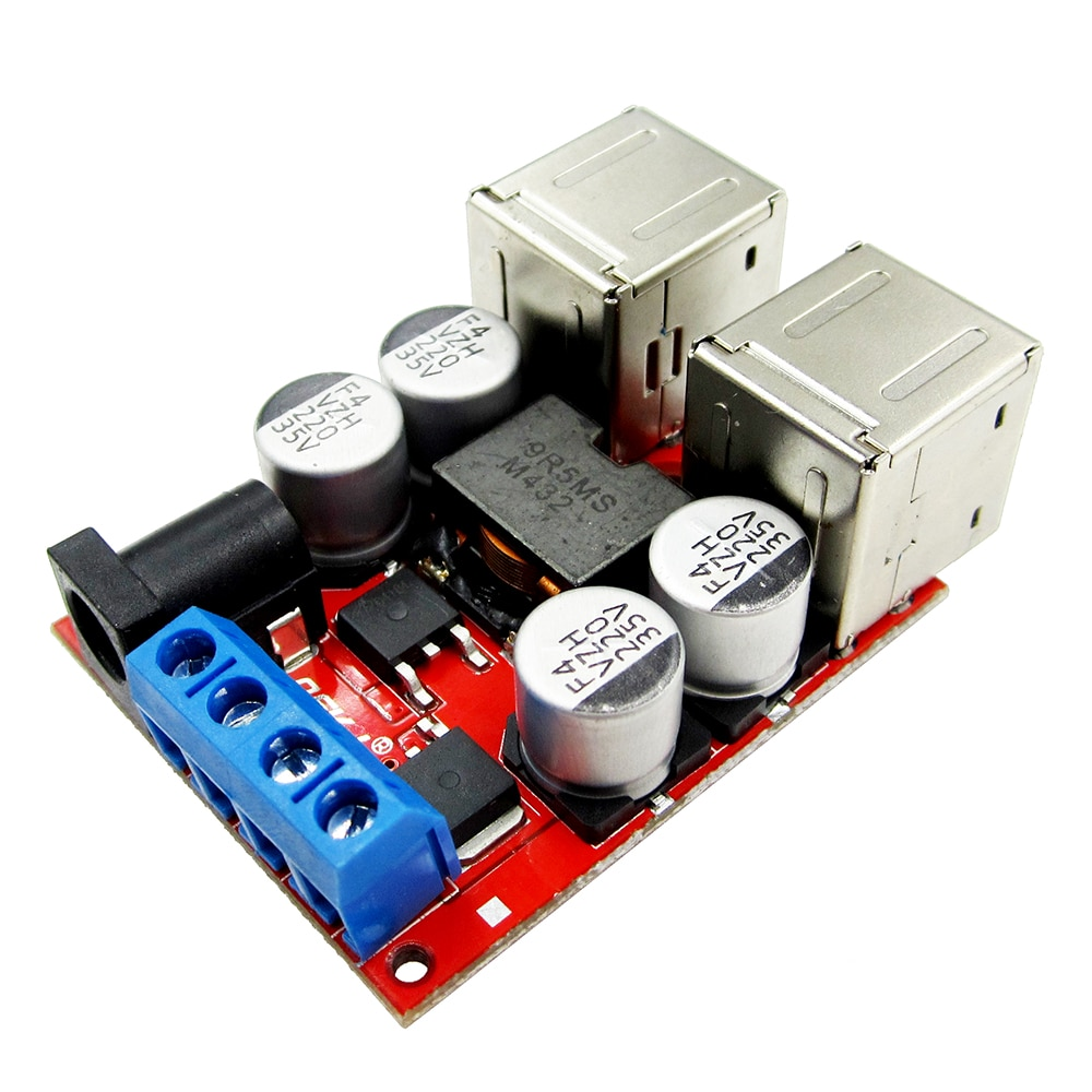 DC-DC Converter 8V 12V 24V (8V-35V) to 5V 8A Non-Isolation Buck Step Down Module 2/4 USB Output Car Charger QS-1205CBUM-8A