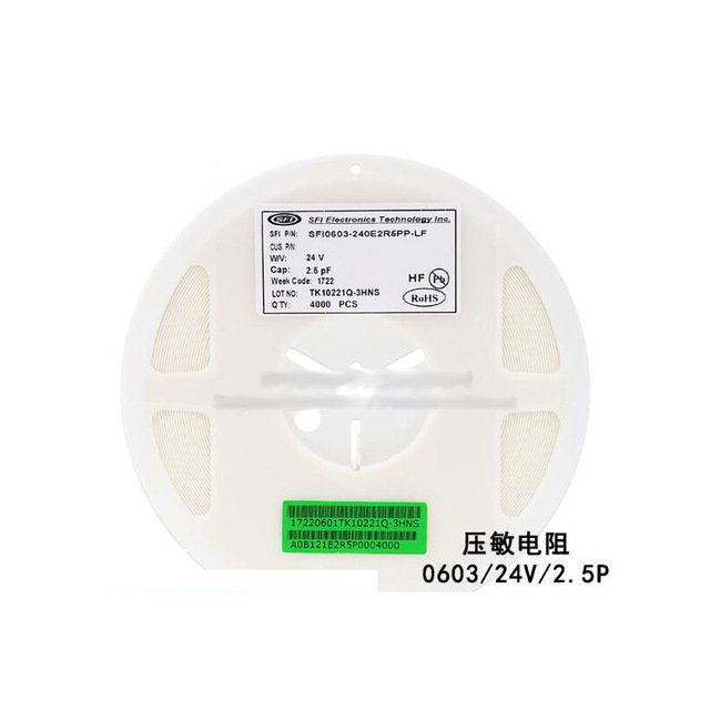 0603 Chip Multilayer Chip Varistor 24V 2.5PF SFI0603-240E2R5PP-LF