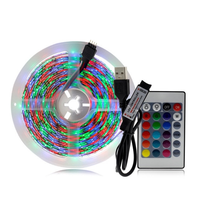 5V 2835 SMD RGB LED Strip RGB Color Changeable with 24Key Remote Controller