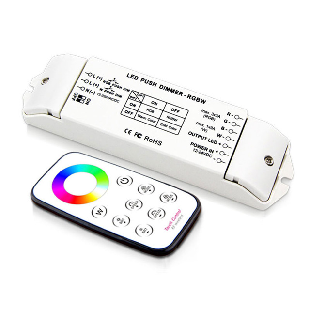 DC12-24V 4 Channels DIP Switch Wireless Constant Voltage RGBW LED Controller with RF Touch Remote